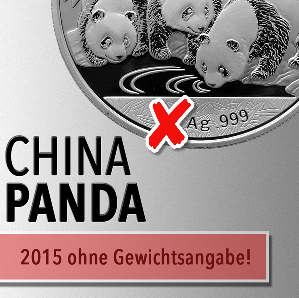 China Panda Münzen 2015 - Zukünftig ohne Feingewichtsangabe