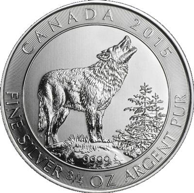 Grauwolf 2015 — 3/4 oz Silbermünze Grey Wolf