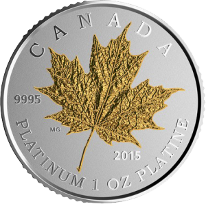 Maple Leaf Forever 1oz Platin Proof Gilded