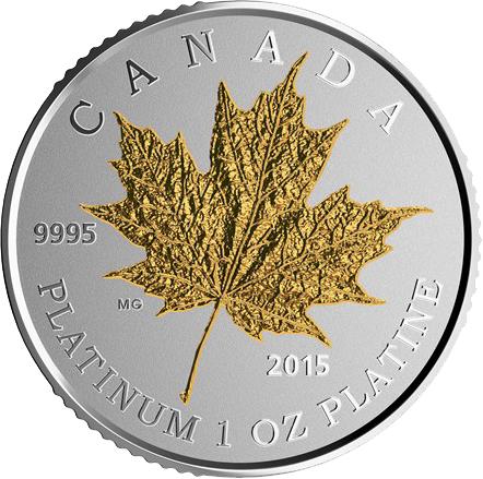 Maple Leaf Forever 1oz Platin Proof Gilded
