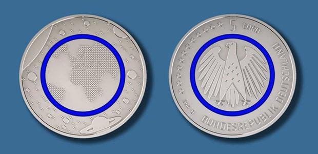 """5-Euro-Sammlermünze """"Planet Erde"""" — Münz-Neuheit mit blauem Ring"""
