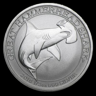 Great Hammerhead Shark 1/2oz Silbermünze — Hammerhai 2015