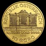 Gold Wiener Philharmoniker 1/10oz Vorderseite