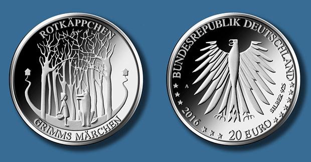 2016 startet ein neues Münzjahr — die neue 20 Euro Gedenkmünze (Rotkäppchen) löst die 10 Euro Sammlermünze ab