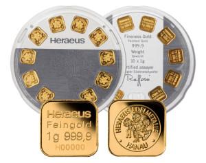 Heraeus 10 x 1 Gramm Goldbarren Multidisc der Kassenschlager bei CastellGold