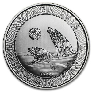 Heulende Wölfe Silbermünze 2016 — Howling Wolves 3/4 oz Silber 2016 aus Kanada