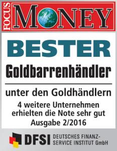 Focus Money (Ausgabe 02/2016) CoinInvest bester Goldmünzenhändler und Goldbarrenhändler