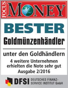 Focus Money 2016 prämiert philoro EDELMETALLE