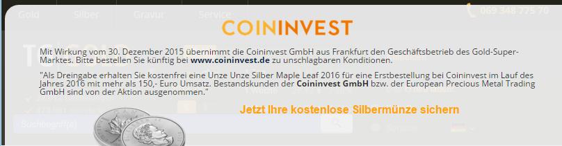 CoinInvest übernimmt TG Gold-Super-Markt.de
