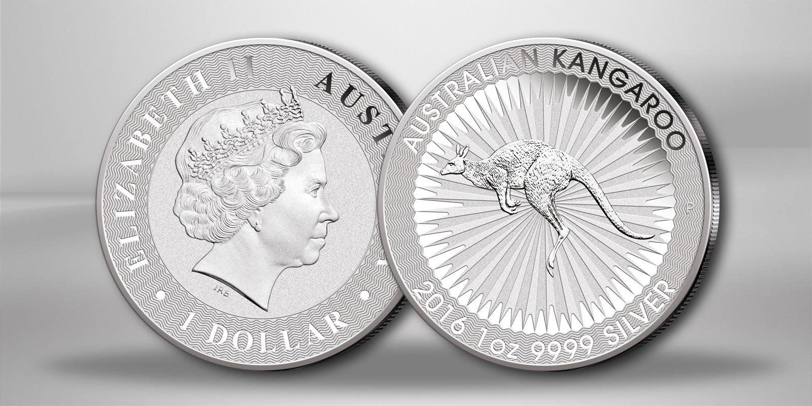 Australische Känguru 1 oz Silbermünze 2016 der Prägeanstalt Perth Mint