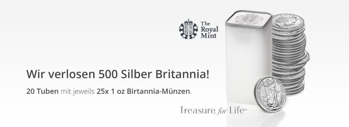 Mega Silbermünzen Gewinnspiel — CoinInvest verlost 500 x 1 Unze Silber Britannia 2016 — Royal Mint Gewinnspiel