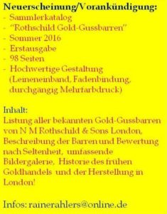 Rothschild-Gold Gussbarren Standardkatalog
