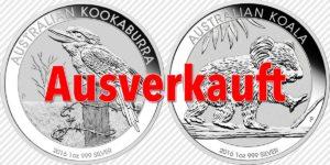Perth Mint's Koala und Kookaburra Silbermünzen ausverkauft — Anlagemünzen erfreuen sich großer Beliebtheit