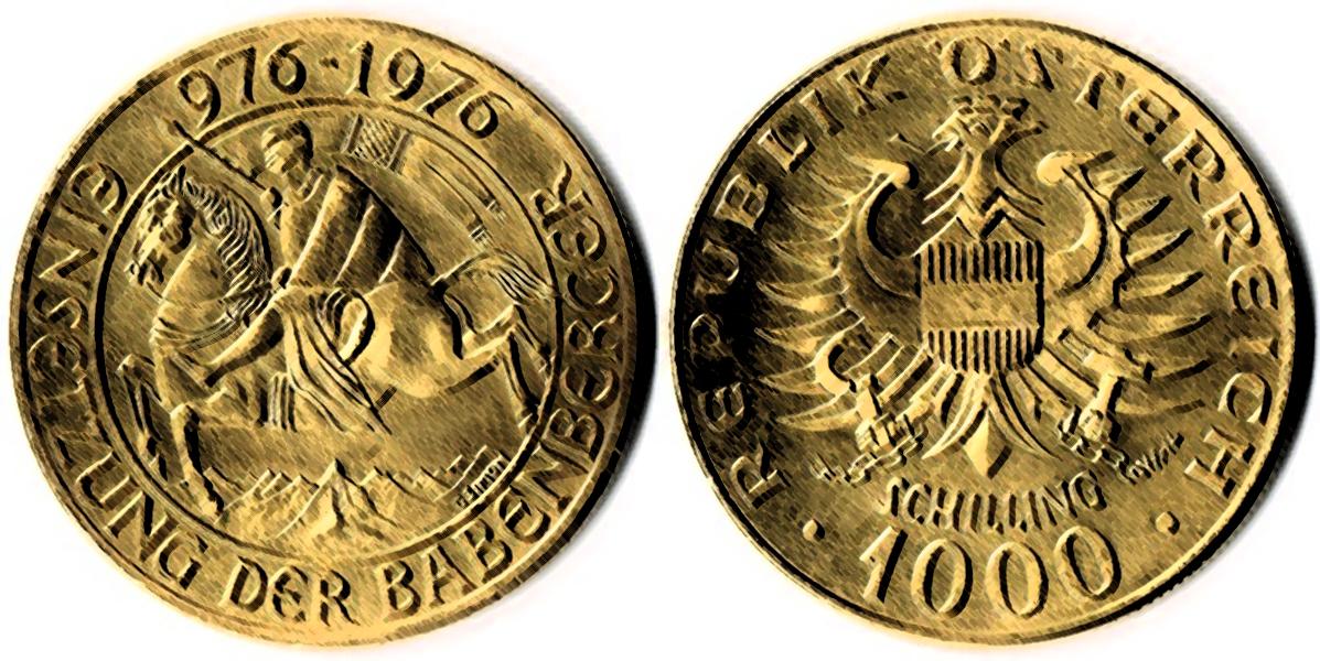 1000 Schilling in Gold Babenberger Bundesgoldmünze