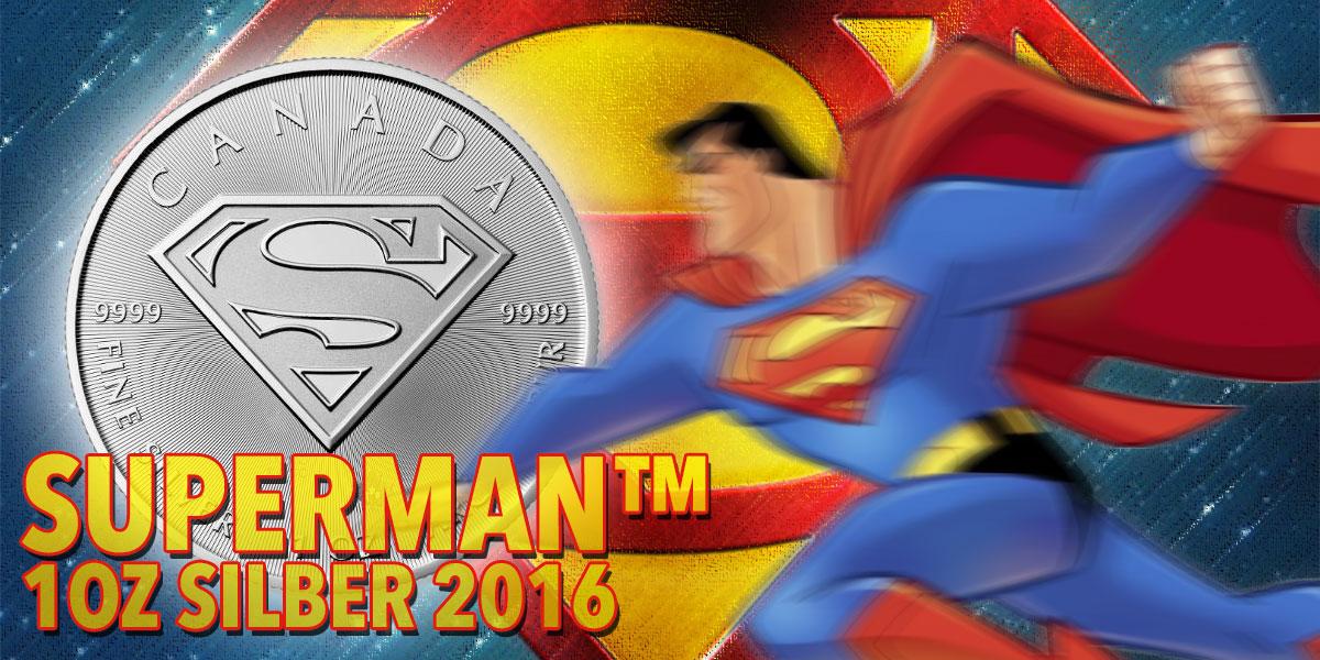 1 oz Superman™ Silber 2016 — 999.9er Feinsilber — Royal Canadian Mint