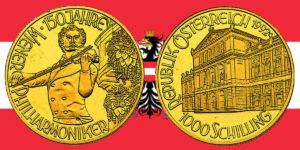 1000 Schilling in Gold Johann Strauss in der Serie 150 Jahre Wiener Philharmoniker
