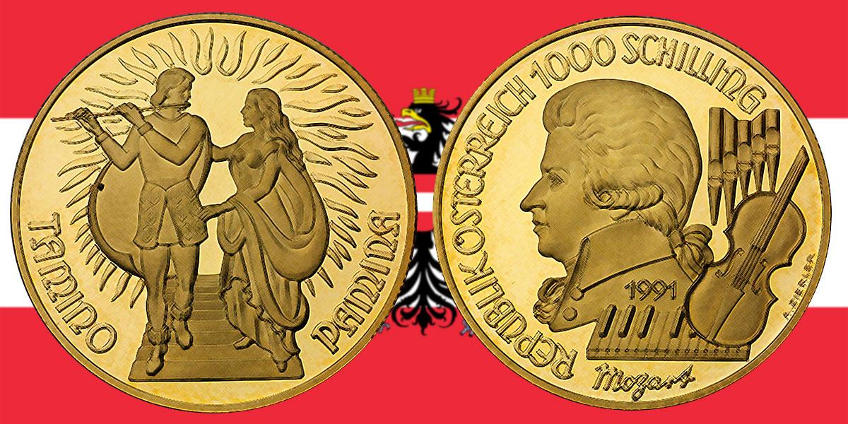1000 Schilling in Gold Zauberflöte in der Serie Wolfgang Amadeus Mozart