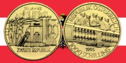 1000 Schilling in Gold 50 Jahre 2. Republik in der Serie 1000 Jahre Österreich-Millenium