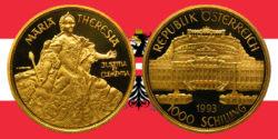 1000 Schilling in Gold Maria Theresia in der Serie 1000 Jahre Österreich-Millenium