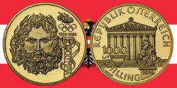 1000 Schilling in Gold Zeus in der Serie 100 Jahre Olympische Bewegung in Österreich