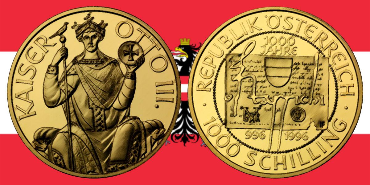 1000 Schilling in Gold 1000 Jahre Ostarrichi in der Serie 1000 Jahre Österreich-Millenium