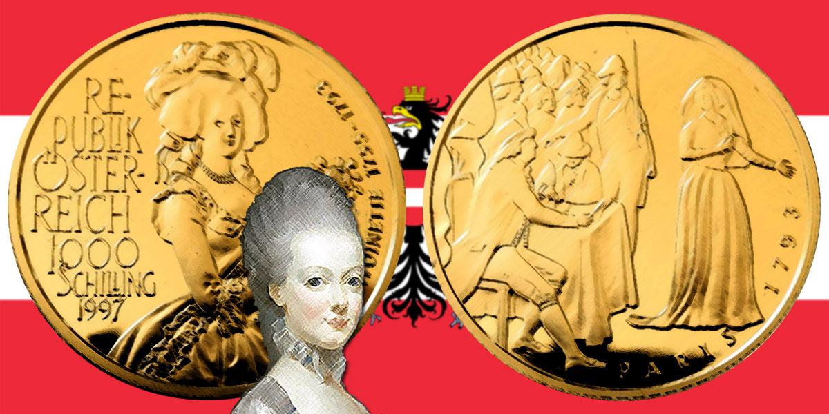 1000 Schilling in Gold Marie Antoinette in der Serie Schicksale im Hause Habsburg