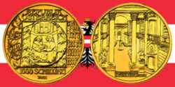 1000 Schilling in Gold Buchmalerei in der Serie Kunstschätze Österreich