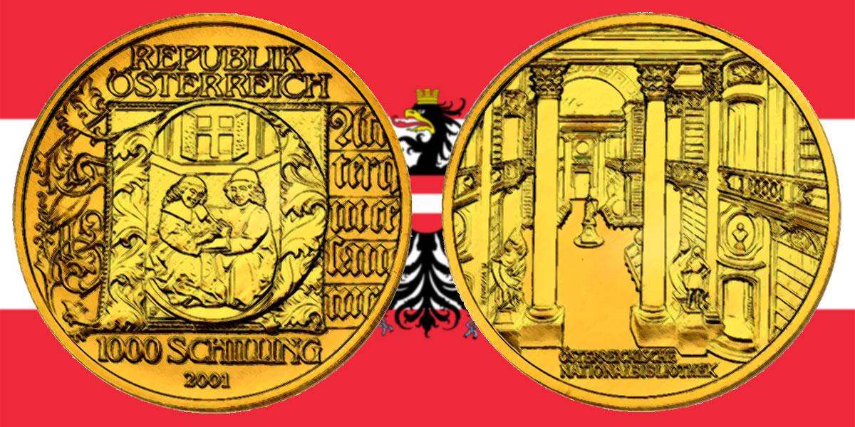 1000 Schilling in Gold Buchmalerei in der Serie Kunstschätze Österreichs