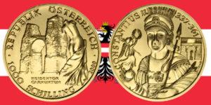 1000 Schilling in Gold Heidentor Carnuntum in der Serie Kunstschätze Österreichs