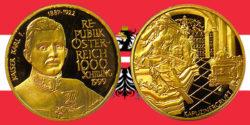 1000 Schilling in Gold Kaiser Karl I. in der Serie Schicksale im Hause Habsburg