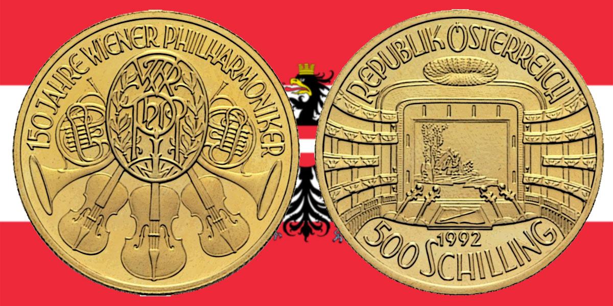 500 Schilling in Gold Staatsoper in der Serie 150 Jahre Wiener Philharmoniker