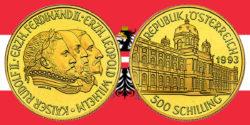 500 Schilling in Gold Rudolf II. in der Serie 1000 Jahre Österreich-Millenium