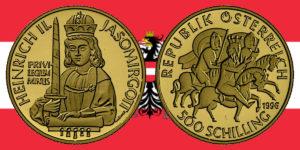 500 Schilling in Gold Heinrich II. Jasomirgott in der Serie 1000 Jahre Österreich-Millenium