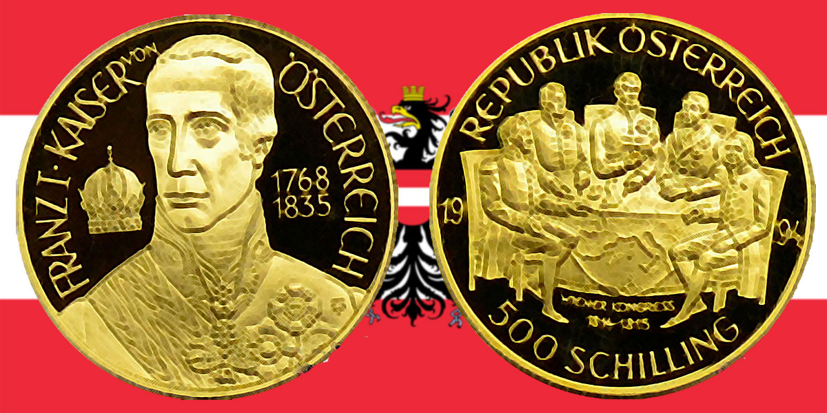 500 Schilling in Gold Wiener Kongress in der Serie 1000 Jahre Österreich-Millenium