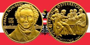 500 Schilling in Gold Franz Schubert in der Serie Wiener Musiklegenden