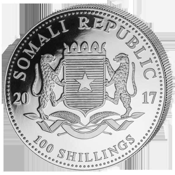 Rückseite Somalia Elefant 2017 Silber mit Wappen