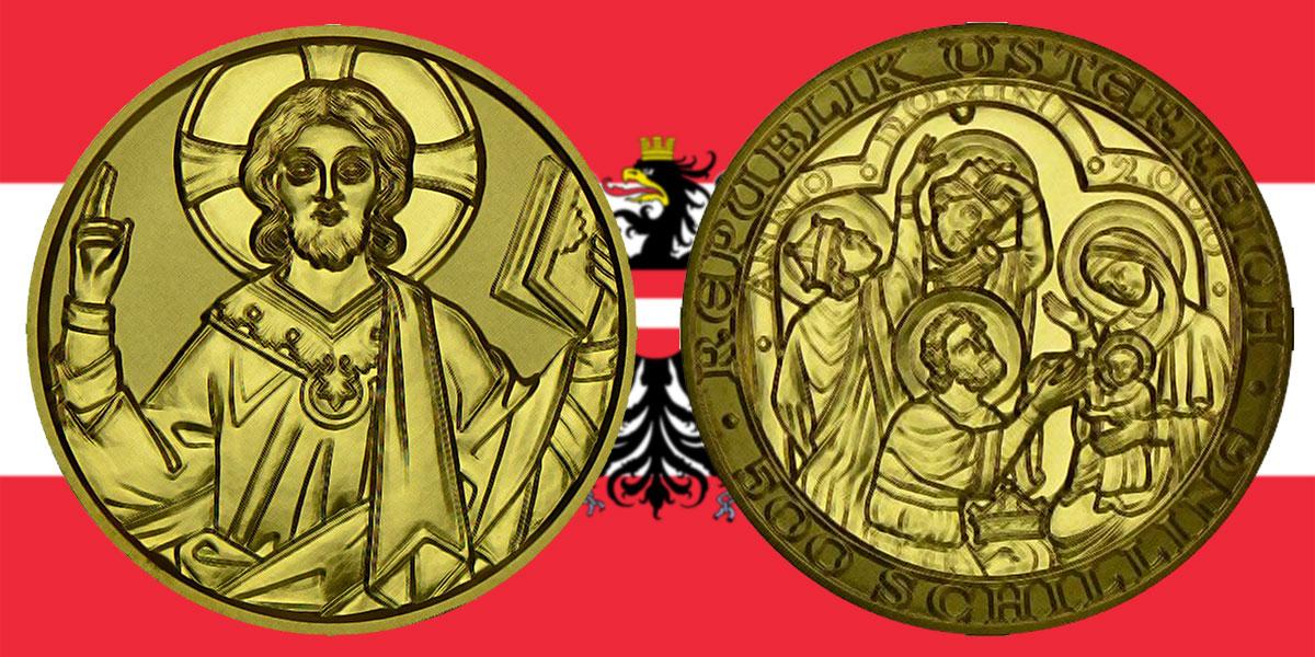 500 Schilling in Gold Geburt Christi in der Serie 2000 Jahre Christentum