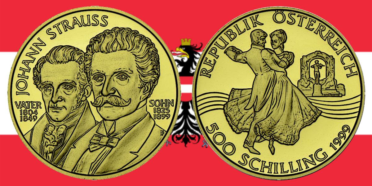 500 Schilling in Gold Johann Strauss Vater und Sohn in der Serie Wiener Musiklegenden