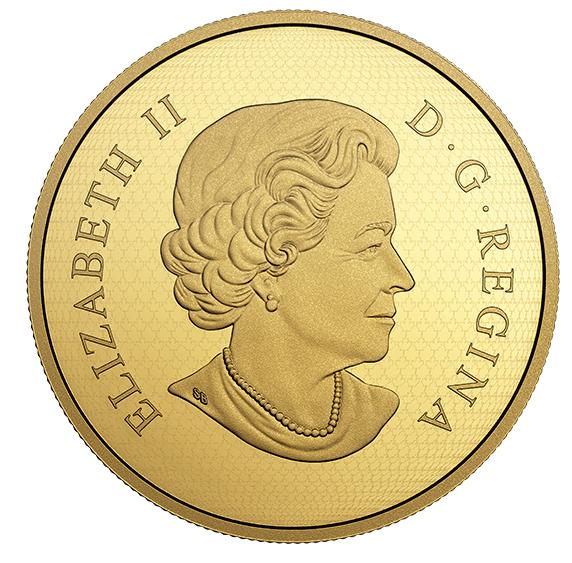 Goldmuenze mit Queen - Canada 5oz Falke