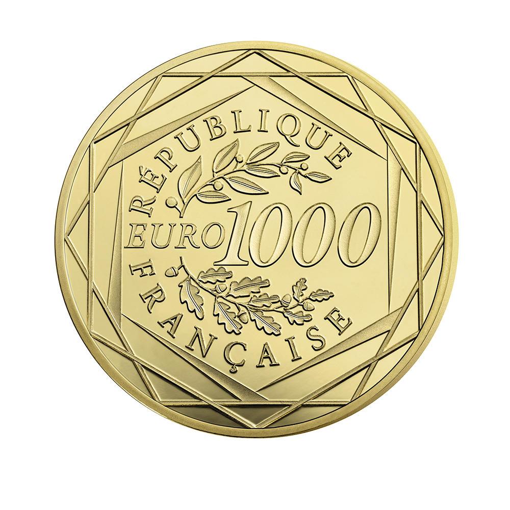Face-Value-Goldmuenze 1000 Euro Hahn