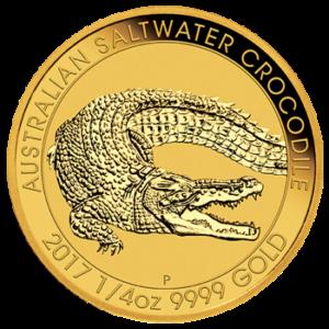 2017 Salzwasserkrokodil Gold 1/4 Unze Motiv