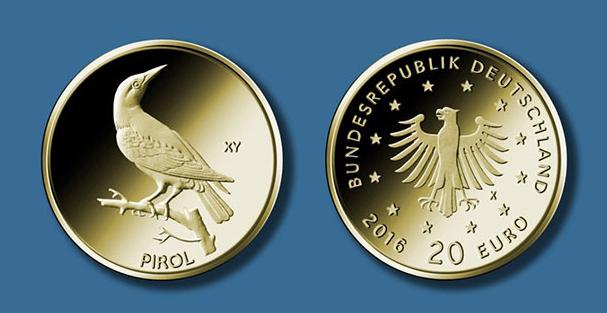 """20 Euro Goldmünze Pirol — Serie """"Heimische Vögel"""" — Deutschland 2017"""