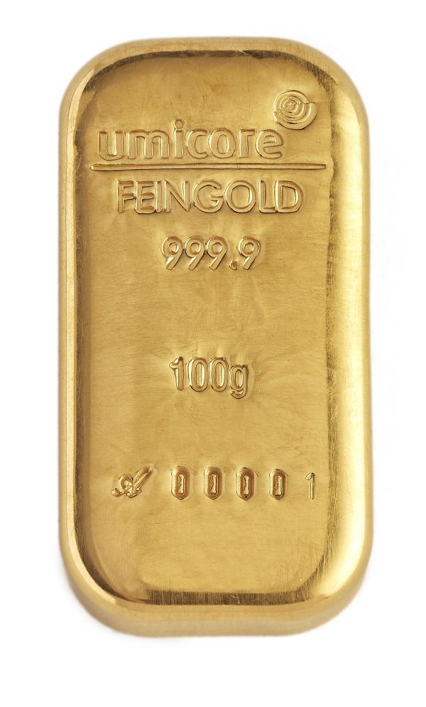 Umicore Goldbarren 100 Gramm ab sofort auch gegossen statt geprägt