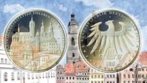 100 Euro Luthergedenkstätten 2017 — Goldmünze VfS — 2017 UNESCO Welterbe Luthergedenkstätten Eisleben und Wittenberg