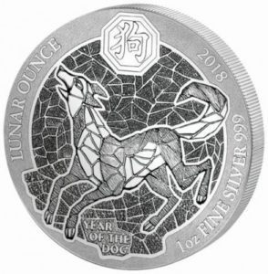 1 oz Ruanda Lunar Silber Hund 2018 — Ruanda Lunar Silbermünzen Serie