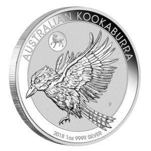 Kookaburra mit Privy Mark Hund 1oz Silber 2018 ausgegeben