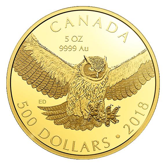 5 Unzen Gold Eule Kanada ausverkauft – Great Horned Owl 2018 heiß begehrt
