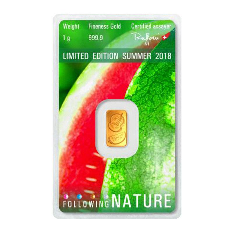 Melone auf der Goldbarren-Rückseite Argor Heraeus Sommer 2018