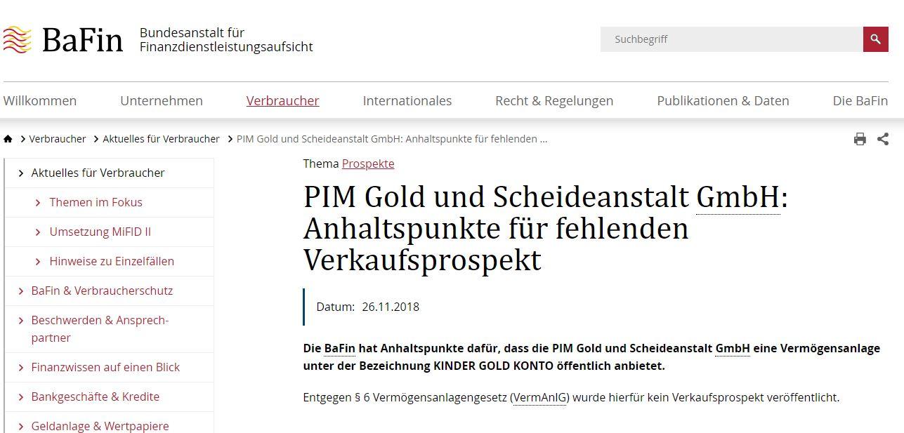 PIM-BAFIN-Warnhinweis