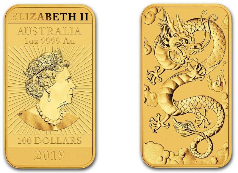 Gold Drachen 2019 Barren der Perth Mint ausgegeben